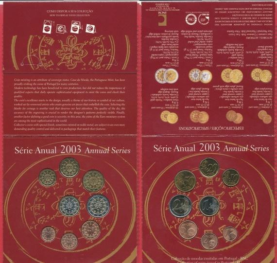 Португалия 1, 2, 5 евроцентов 2003