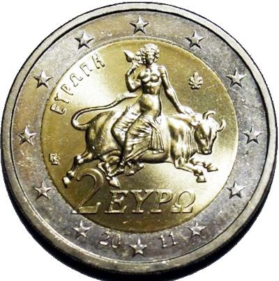 Греция 2 Евро 2011 (Европа похищенная Зевсом)
