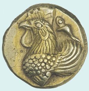Иония, Фокея. Гекта с петухом, ок. 480–450 гг. до н.э. – самая ранняя монета из представленных на выставке. Фото пресс-службы Музея нумизматики