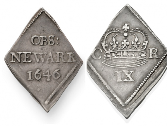 The coin was minted in Newark in the the reign of Charles I